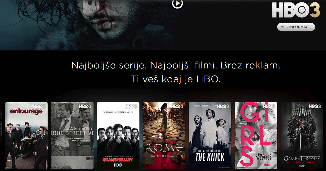 HBO tv program za ogled filmov in serij brez reklam